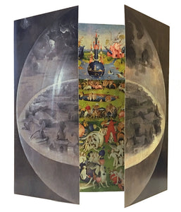 Garden of Earthly Delights Triptych by Bosch, Three Panel Folding Card 5.5H
