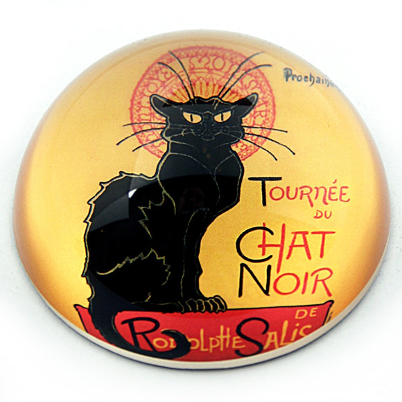 Black Cat Le Chat Noir Glass Desk Paperweight by Steinlen