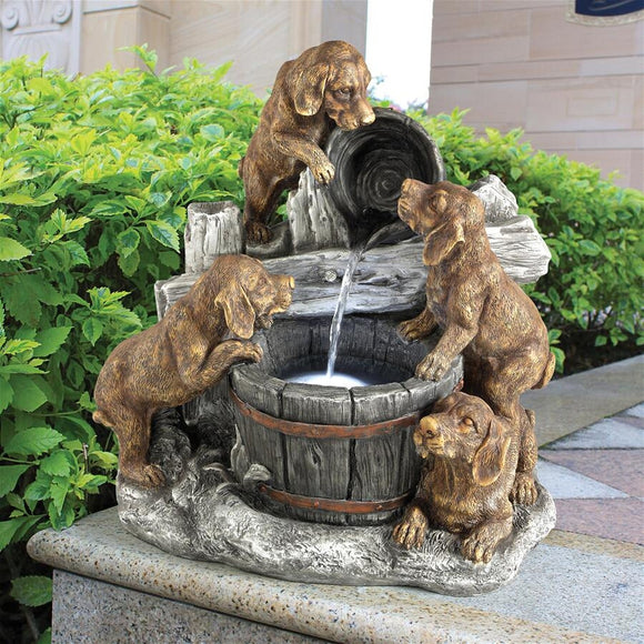 Puppies Watching Water in Puppy Pail Pour Garden Fountain 21.5H
