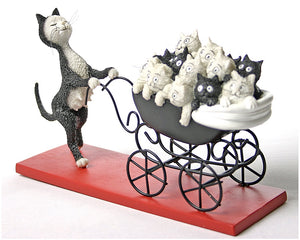 Proud Cat Mom Pushes Carriage Filled with Kittens Le Landeau by Dubout 8L