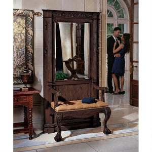 The Regents Park Hall Entry Stand with Foyer Lion Claw Chair and Mirror 79.5H