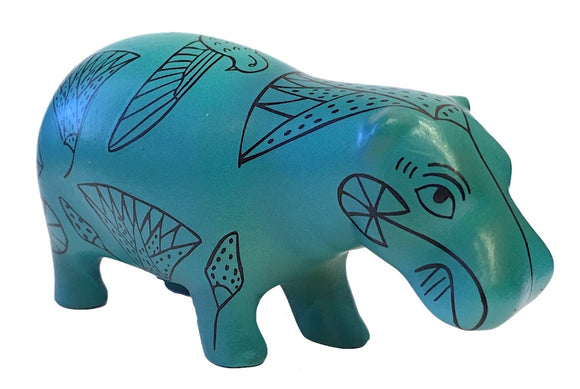 Pocket Art Egyptian Hippo Blue Papyrus Drawings Miniature Statue 4L