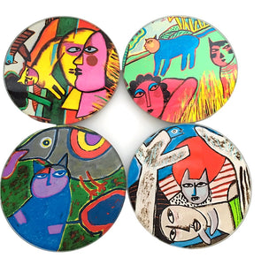 Corneille Cat Paintings Bold Colors Dream Bar Drink Glass Coasters Set of 4