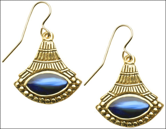 Egyptian Lotus Enameled Fan Like Drop Ladies Eye Shaped Earrings