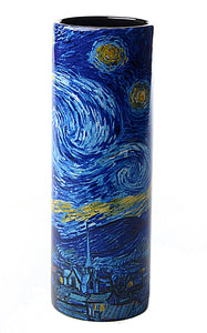 Van Gogh Starry Night Ceramic Flower Bud Vase Museum Painting on All Sides 7H