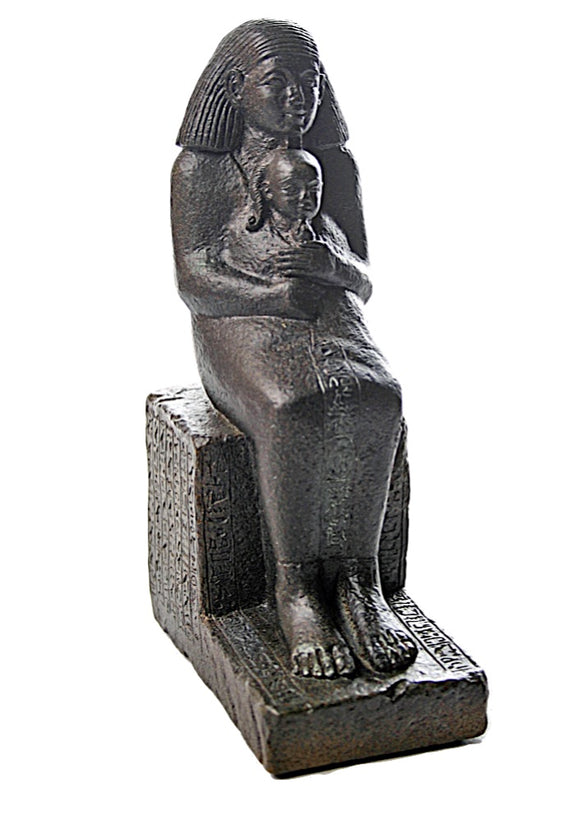 Senmut Holding Neferure Daughter of Queen Hatshepsut Egyptian Statue 7.75H