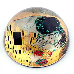 The Kiss Glass Desktop Glass Dome Paperweight by Klimt 3W