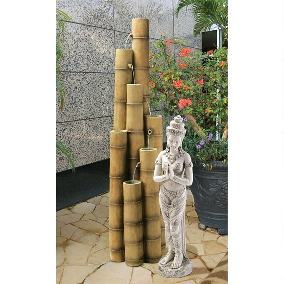 Asian Cascading Bamboo Tubes Grouping Sculptural Fountain 57.5H