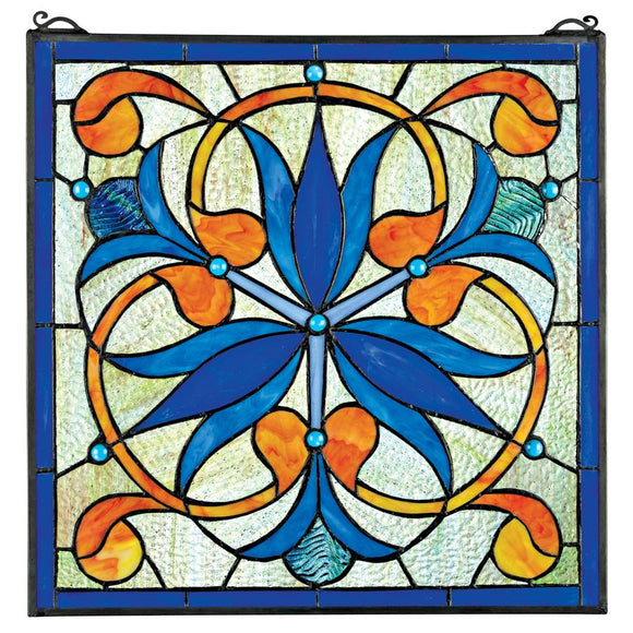 Mokara Orchid Trefoil Floral Stained Glass Window Blue Orange Flower Pattern 17H