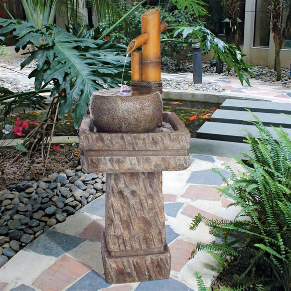 Bamboo Wellspring Pedestal Fountain Asian Inspired Meditation Garden Art 42.5H
