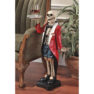 Bones English Butler Holding Your Drink Pedestal Skeleton Sculpture Side Table 36H
