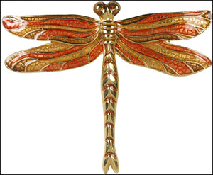 Dragonfly Pin Brooch Enamel Tiffany Orange 2.1H