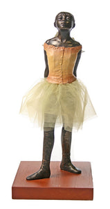 Little Dancer of Fourteen Years with Fabric Skirt Statue by Degas, 8.5H