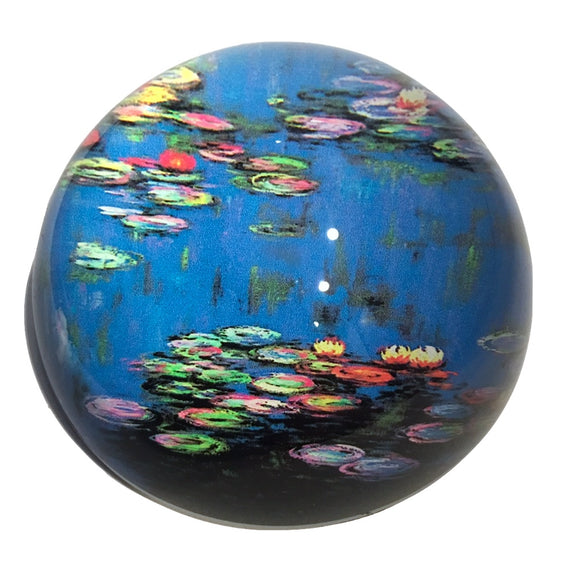Monet Waterlilies Water Garden Blue Glass Dome Desk Museum Paperweight 3W