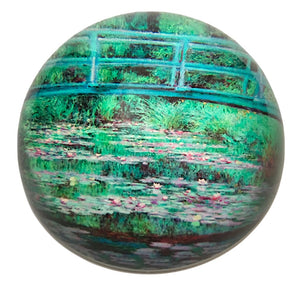 Monet Japanese Bridge Giverny Green Blue Glass Dome Desk Museum Paperweight 3W