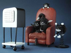 Cats Watching Horror Movie on TV Statue Set by Dubout 5.75H
