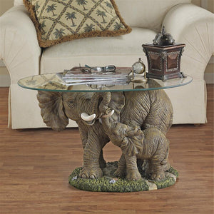 Elephant Mother and Baby Calf African Majesty Cocktail Table with Glass 18H