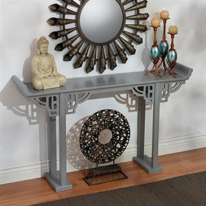 Ming Asian Style Chinese Wood Console Table 32.5H x 54W Grey