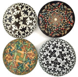 Escher Tessellations Circles Geometric Bar Drink Glass Coasters Set of 4