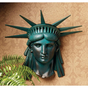Statue Of Liberty Head with Crown Green Wall Hanging American USA Tribute 19H