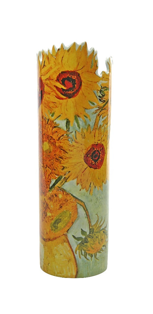 Sunflowers Ceramic Museum Flower Vase by Van Gogh 8.5H