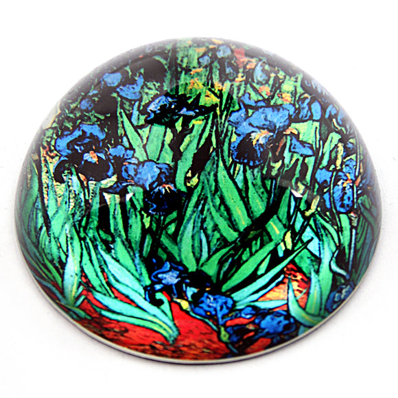 Irises Glass Desktop Paperweight by Van Gogh 3W