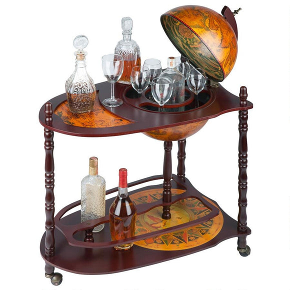 Old World Extended Shelf 16th Century Italian Replica Globe Bar Cart 34.5H