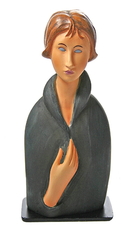 Modigliani Blue Eyed Woman Portrait Statue Series of Women Long Neck 5.75H