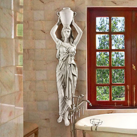 Dione the Classical Water Goddess Holding Water Urn Wall Sculpture 61H