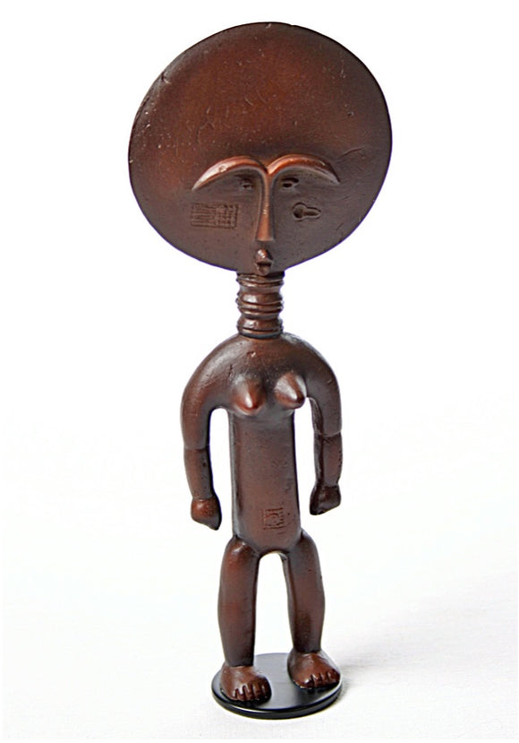 Asante Ghana Akua'ba African Fertility Statue with Large Round Head 8H