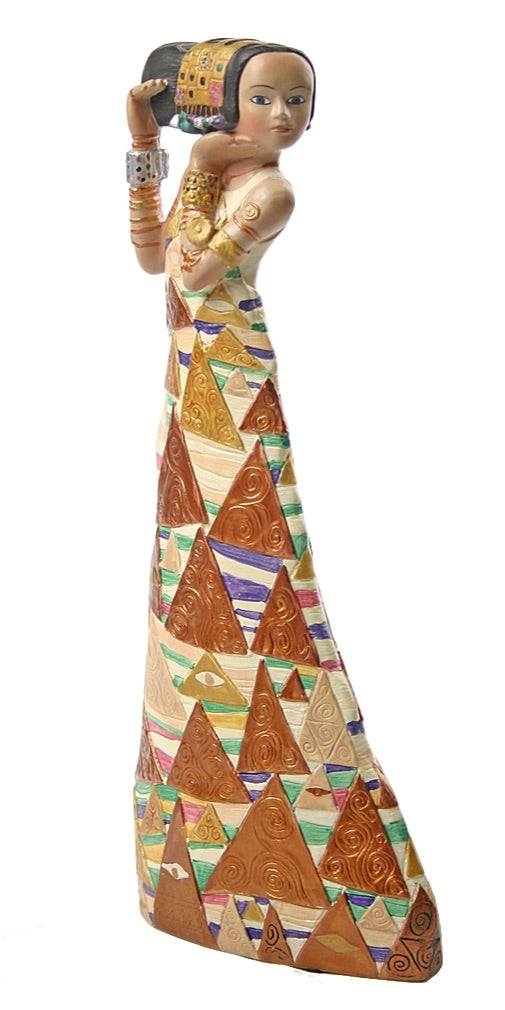 Expectation Art Nouveau Woman Statue Triangle Dress by Gustav Klimt 9H