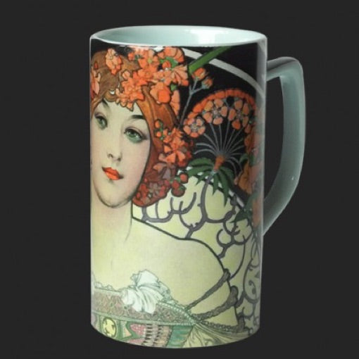 Mug Mucha Woman Orange Flowers Headdress Reverie Ceramic 8oz
