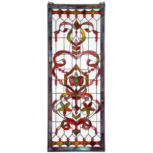 Delaney Manor Ornamental Ribbon Red Stained Glass Window 48H