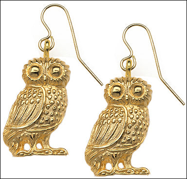 Wise Owl Athena Minerva Greek Dangle Drop Earrings 1.5L