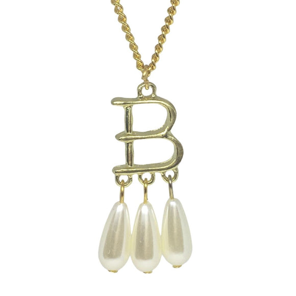 Anne Boleyn B Initial Faux Pearl Pendant Renaissance Costume Necklace on 20 inch Chain