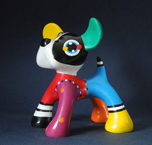 Jacky Zegers Junior Dog Small Abstract Bright Colors Pop Art Statue 5.5H
