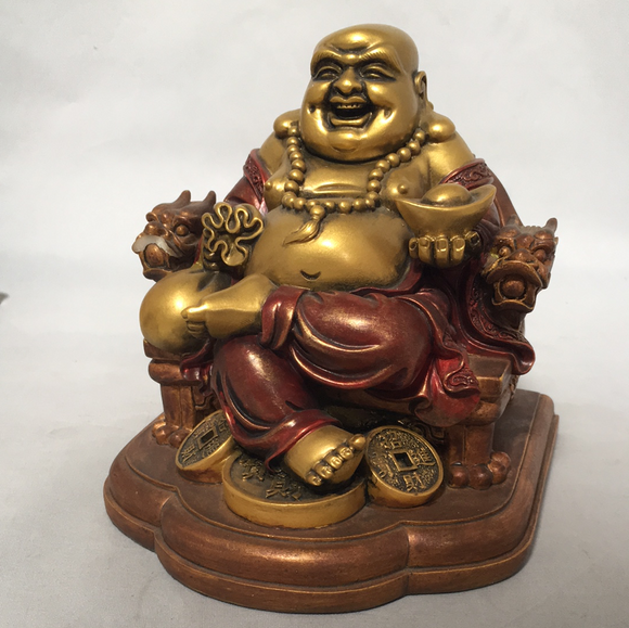 Happy Buddha Sitting on Chair Hotai AS IS ATTIC no returns