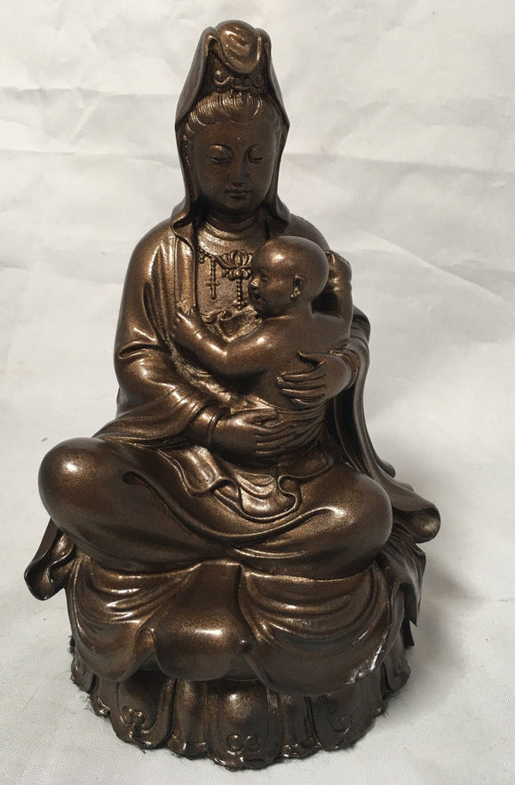 Kuan Yin as Compassionate Mother Holding Baby Statue Painted Bronze 6.5H AS IS ATTIC no returns