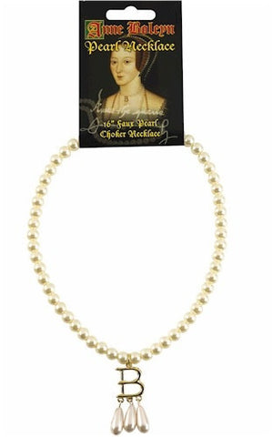 Anne Boleyn Pearl Necklace with B Initial Museum Replica 16L - Museumize