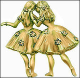 Degas Pair of Ballerinas Pin inspired by Ballet at the Paris Opera - 4034 - Museumize  - 1