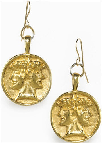 Museumize:Etruscan Janus Good Events Double Headed Earrings, Assorted Colors