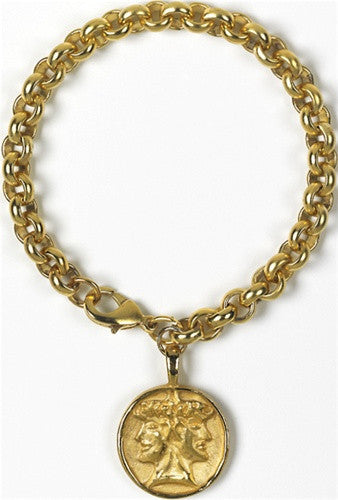 Museumize:Etruscan Janus Double-Headed Unisex Bracelet Gold or Silver Plated - 7883X