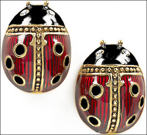 Museumize:Faberge Ladybug Pierced Post Earrings - 4499