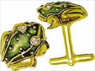 Museumize:Frog Cufflinks with Rhinestones, Assorted Colors,Green