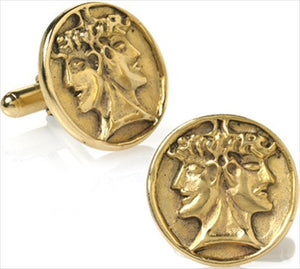 Museumize:Janus Double Head Roman God of Beginnings Cufflinks, Assorted Colors - T9233X