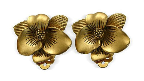 Magnolia Flower Clip Earrings - 5485 - Museumize