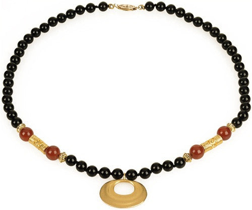 Museumize:Precolumbian Nose Ornament Necklace with Beads 16L, Assorted Colors,black onyx and red carnelian