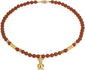 Museumize:Precolumbian Poporo Necklace with Beads, Assorted Colors,red carnelian