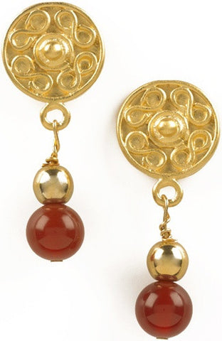 Precolumbian Sinu Round Ornament Gold and Bead Drop Earrings, Assorted Colors - Museumize  - 1