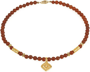 Museumize:Precolumbian Spiral necklace With Beads, Assorted Colors - 7977,red carnelian